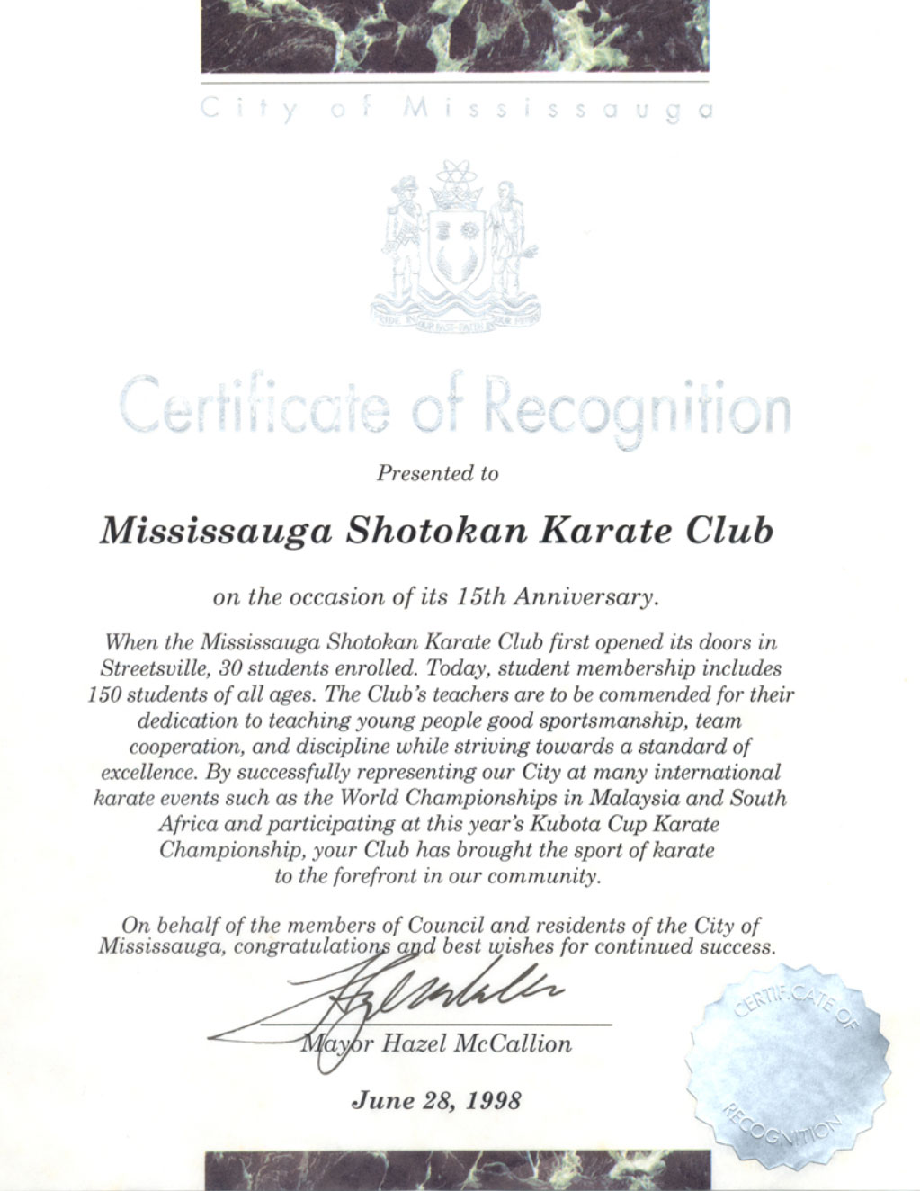 City of Mississauga Certificate of Recognition - Click to view the larger version.